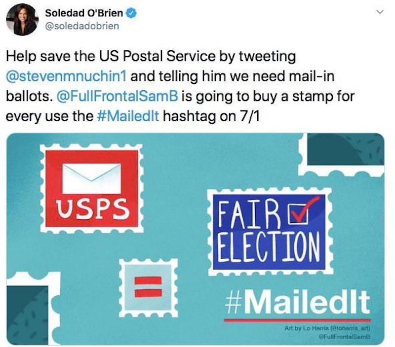 Stacey Abrams, Soledad O'Brien and More Join #MailedIt Tweetathon to Save the USPS and Mail-in Voting!